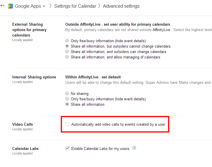 """Disabling Google's """"Video Call"""" default in Google Apps"""